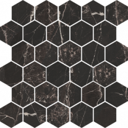 Flīzes MAGIC BLACK MB14 Mozaika 27*27 poler rectified HEXAGON